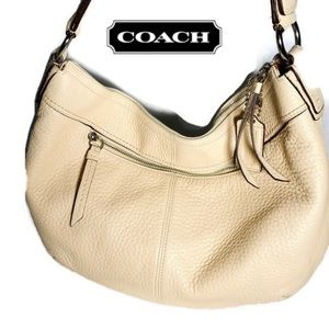 COACH #F13731 Off White Leather Hobo Bag